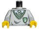 Part No: 973px147c01  Name: Torso Harry Potter Uniform Slytherin Shield Pattern / Light Gray Arms / Yellow Hands