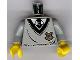 Part No: 973px153c01  Name: Torso Harry Potter Uniform Hogwarts Shield Pattern / Light Gray Arms / Yellow Hands