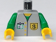 Part No: 973px31c01  Name: Torso Bank Employee Jacket, Dollar Sign Badge and ID Pattern / Green Arms / Yellow Hands