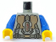 Part No: 973px57c01  Name: Torso Space LoM Gold Triangular Machinery and Belt Pattern / Blue Arms / Yellow Hands