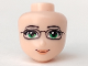 Part No: 14059  Name: Mini Doll, Head Friends with Green Eyes and Glasses, Orange Lips and Closed Mouth Pattern
