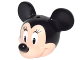 Part No: 24629pb02  Name: Minifigure, Head Modified Mouse with Black Ears and Nose and White Eyes with Eyelashes Pattern (Minnie)