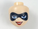 Part No: 29399  Name: Mini Doll, Head Friends with Black Domino Mask, Bright Light Blue Eyes and Red Lips Pattern (Harley Quinn)