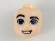 Part No: 29413  Name: Mini Doll, Head Friends Male Large with Blue Eyes, Black Eyebrows, Right Raised Eyebrow, Open Mouth Smile Pattern (Steve Trevor)