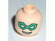 Part No: 3626bpb0029  Name: Minifigure, Head Male Green Eye Mask with Eye Holes and Smile Pattern - Blocked Open Stud
