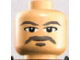 Part No: 3626bpb0066  Name: Minifigure, Head Male Gray Moustache, Goatee, and Eyebrows Pattern - Blocked Open Stud