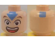 Part No: 3626bpb0067  Name: Minifigure, Head Male Eyes & Mouth Wide Open, Blue Arrow on Forehead & Square on Back Pattern (Aang) - Blocked Open Stud