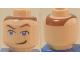 Part No: 3626bpb0068  Name: Minifigure, Head Male Eyes Blue with Raised Eyebrow and Smirk Pattern (Sokka) - Blocked Open Stud