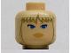 Part No: 3626bpb0076  Name: Minifigure, Head Female with Peach Lips, Blue Eyes, Tan Bangs Pattern (SW Juno) - Blocked Open Stud