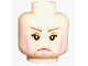Part No: 3626bpb0274  Name: Minifigure, Head Female with Pink Lips and Rouge, Frown Lines, White Pupils Pattern (HP Professor Umbridge) - Blocked Open Stud