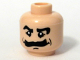 Part No: 3626bpb0281  Name: Minifigure, Head Moustache Bushy, Black Eyebrows, White Pupils Pattern - Blocked Open Stud