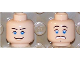 Part No: 3626bpb0284  Name: Minifigure, Head Dual Sided Blue Eyes with Brown Eyebrows, Scared / Smile Pattern (Marion Ravenwood) - Blocked Open Stud