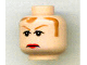 Part No: 3626bpb0291  Name: Minifigure, Head Female with Brown Hair, Brown Eyebrows, Frowning Red Lips Pattern - Blocked Open Stud