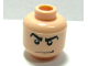 Part No: 3626bpb0297  Name: Minifigure, Head Male Angry Black Eyebrows, White Pupils, Smirk Pattern (SR Gray Ghost) - Blocked Open Stud