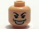 Part No: 3626bpb0354  Name: Minifigure, Head Male Arched Eyebrows, White Pupils, Wide Grin with Dimples Pattern - Blocked Open Stud
