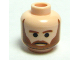 Part No: 3626bpb0385  Name: Minifigure, Head Beard Brown, Black Pupils and Frown Pattern - Blocked Open Stud