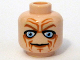 Part No: 3626bpb0391  Name: Minifigure, Head Male Blue Eyes, Deep Brown Wrinkles Pattern - Blocked Open Stud