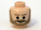 Part No: 3626bpb0392  Name: Minifigure, Head Beard with Dark Tan Trim Beard (angular below mouth) and Eyebrows, Black Eyes and Smile Pattern (Crix Madine) - Blocked Open Stud