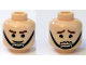Part No: 3626bpb0395  Name: Minifigure, Head Dual Sided Brown Eyebrows, Black Chin Strap, Smile / Worried Pattern - Blocked Open Stud