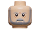 Part No: 3626bpb0407  Name: Minifigure, Head Beard with SW Gray Beard and Eyebrows, Lines under Eyes, Furrowed Brow, White Glints Pattern - Blocked Open Stud