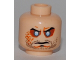 Part No: 3626bpb0423  Name: Minifigure, Head Beard Stubble, Cleft Chin, Evil Eyes, Arched Eyebrows Pattern - Blocked Open Stud