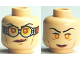 Part No: 3626bpb0489  Name: Minifigure, Head Dual Sided Female, Red Lips, Goggles / no Goggles Pattern (HP Madame Hooch) - Blocked Open Stud