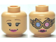 Part No: 3626bpb0494  Name: Minifigure, Head Dual Sided Female, Dark Pink Lips, Spectrespecs / No Spectrespecs Pattern (HP Luna) - Blocked Open Stud