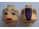 Part No: 3626bpb0554  Name: Minifigure, Head Dual Sided Alien with SW Sugi, Large Brown Eyes, Red Lips and Cheek Lines / Purple Hair Pattern - Blocked Open Stud
