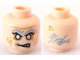 Part No: 3626bpb0562  Name: Minifigure, Head Alien with PotC Zombie with Silver Eyes and Light Gray Eyebrows Pattern - Blocked Open Stud