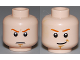Part No: 3626bpb0634  Name: Minifigure, Head Dual Sided Dark Orange Eyebrows, White Pupils, Brown Chin Dimple, Determined / Smile Pattern - Blocked Open Stud