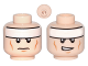 Part No: 3626bpb0637  Name: Minifigure, Head Dual Sided White Headband and Cheek Lines, Frown / Determined Pattern (Batman) - Blocked Open Stud