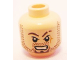 Part No: 3626bpb0649  Name: Minifigure, Head Beard Stubble, Goatee, Scar on Left Cheek and Eyebrow, Bared Teeth Pattern - Blocked Open Stud
