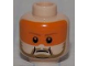 Part No: 3626bpb0679  Name: Minifigure, Head Male, Dark Tan Beard and Eyebrows, Orange Visor Pattern - Blocked Open Stud
