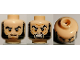 Part No: 3626bpb0709  Name: Minifig, Head Dual Sided Bushy Black Eyebrows and Long Thick Sideburns, Frown / Angry Pattern - Blocked Open Stud