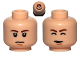 Part No: 3626bpb0783  Name: Minifigure, Head Dual Sided Brown Eyebrows, White Pupils, Chin Dimple, Somber / Closed Eyes Pattern (SW Han Solo) - Blocked Open Stud