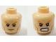 Part No: 3626bpb0873  Name: Minifigure, Head Dual Sided Bushy Orange Eyebrows, Cheek Lines, Frown / Angry Pattern (Aquaman) - Blocked Open Stud