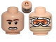 Part No: 3626bpb1008  Name: Minifigure, Head Dual Sided Brown Eyebrows, Scared Pattern / Snow Goggles and Tan Bandana Pattern (SW Han Solo) - Blocked Open Stud