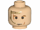 Part No: 3626bpx298  Name: Minifigure, Head Male Gold Headset, Brown Eyebrows, Light Cuts/Scars Pattern - Blocked Open Stud