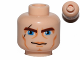 Part No: 3626cpb0075  Name: Minifigure, Head Male Brown Thick Eyebrows, Blue Eyes, Scar and Lines Pattern (SW Clone Wars Anakin) - Hollow Stud