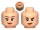 Part No: 3626cpb0482  Name: Minifigure, Head Dual Sided Female Smile / Annoyed Pattern - Hollow Stud
