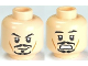 Part No: 3626cpb0559  Name: Minifigure, Head Dual Sided PotC Jack Black Moustache, Smile / Scared Pattern - Hollow Stud