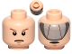 Part No: 3626cpb0651  Name: Minifigure, Head Dual Sided Male Stern Brown Eyebrows and Pupils / Gray Visor Pattern - Hollow Stud