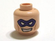 Part No: 3626cpb0678  Name: Minifigure, Head Male Purple Eye Mask with Eye Holes and Evil Grin with Teeth Pattern (The Riddler) - Hollow Stud