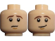 Part No: 3626cpb0730  Name: Minifigure, Head Dual Sided LotR Frodo Brown Eyebrows Worried / Lopsided Smile Pattern - Hollow Stud