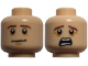 Part No: 3626cpb0732  Name: Minifigure, Head Dual Sided LotR Pippin Brown Eyebrows, Anxious / Scared Pattern - Hollow Stud