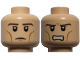 Part No: 3626cpb0735  Name: Minifigure, Head Dual Sided LotR Legolas Calm / Grimacing Pattern - Hollow Stud