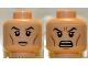 Part No: 3626cpb0753  Name: Minifigure, Head Dual Sided Brown Eyebrows, Black Eyes with Pupils, Wrinkles, Calm / Angry Pattern - Hollow Stud
