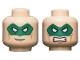 Part No: 3626cpb0780  Name: Minifigure, Head Dual Sided Male Green Eye Mask with Eye Holes, Smirk / Bared Teeth Pattern - Hollow Stud