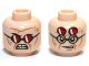 Part No: 3626cpb0785  Name: Minifigure, Head Dual Sided Red Sunglasses / Red Lenses Flapped Up Pattern (Doc Ock) - Hollow Stud