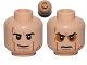 Part No: 3626cpb0806  Name: Minifigure, Head Dual Sided Black Eyebrows, Cheek Lines and Scars, Determined / Angry with Sunken Eyes Pattern (SW Anakin Sith) - Hollow Stud